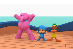 Pocoyo on a ship