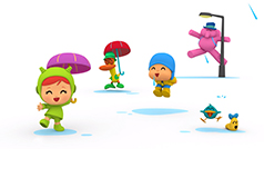 Pocoyo cartoon characters in the rain