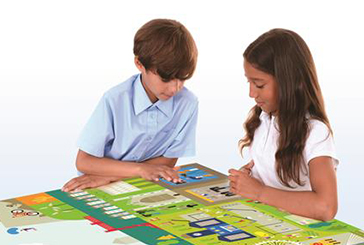 Two children playing an English interview game