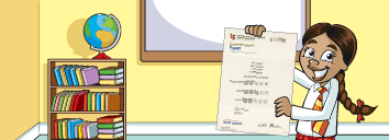 A girl holding her Cambridge English: Flyers certificate