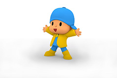 Pocoyo wearing a raincoat