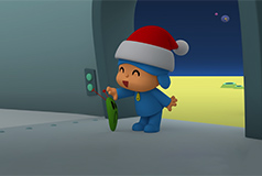 Pocoyo on a planet wearing a santa hat