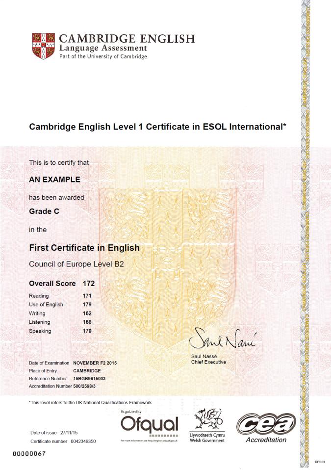 votre certificat cambridge english sur votre cv