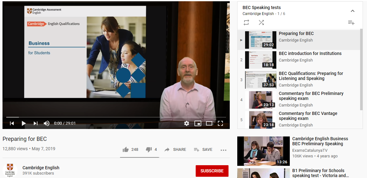BEC Videos - Speaking Test - YouTube Playlist