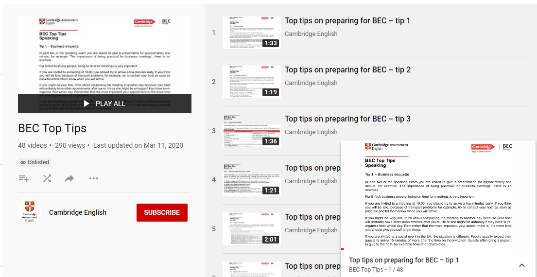 BEC Videos - Top Tips - Youtube Playlist