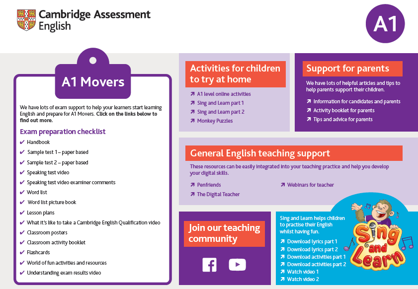 Support for teachers - A1 Movers - Image