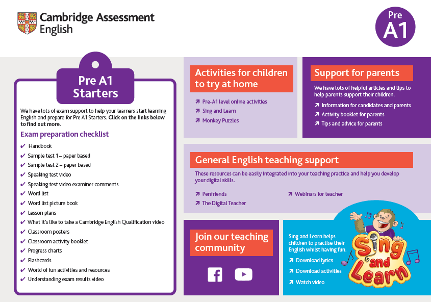 Support for teachers - Pre A1 Starters - Image