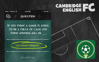 Graphic from our free English language learning game, Cambridge English FC