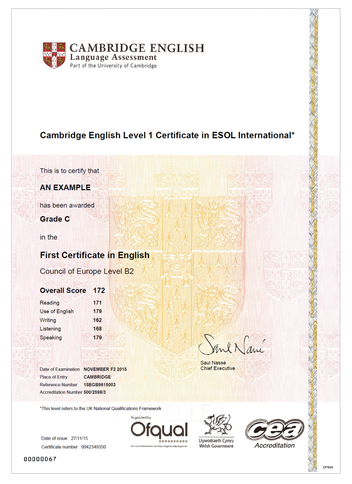 Diplôme Cambridge English First