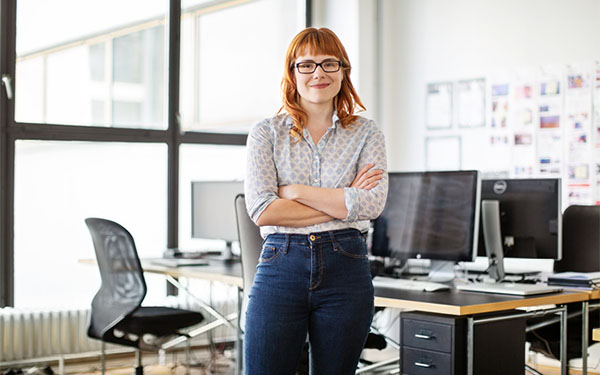 Girl standing in an office