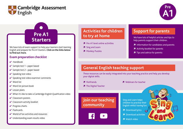 Support for teachers exam pre A1 starters for schools