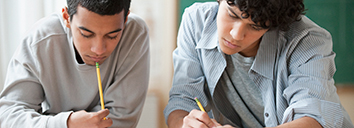 Two students studying English